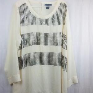 LANE BRYANT Sequin  Sheer Long Sleeve Tunic